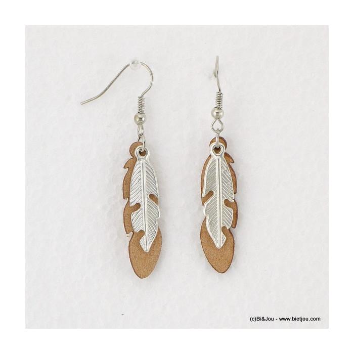 Boucles d'oreilles hippie chic plumes en synthétique et métal