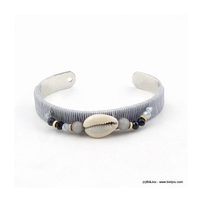 Bracelet jonc ouvert fil enroulé et coquillage