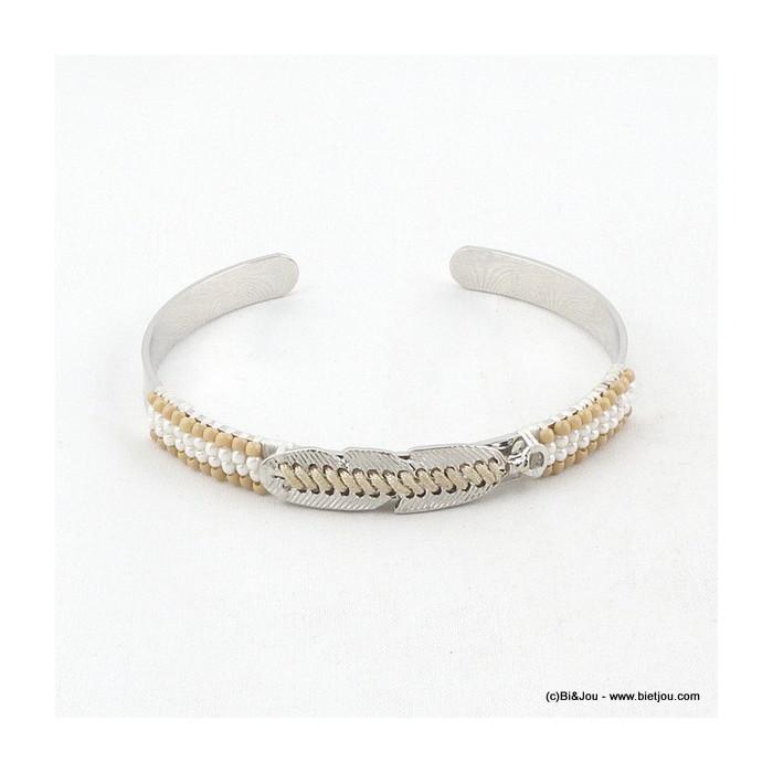 Bracelet jonc ouvert perles de rocaille et plume en métal
