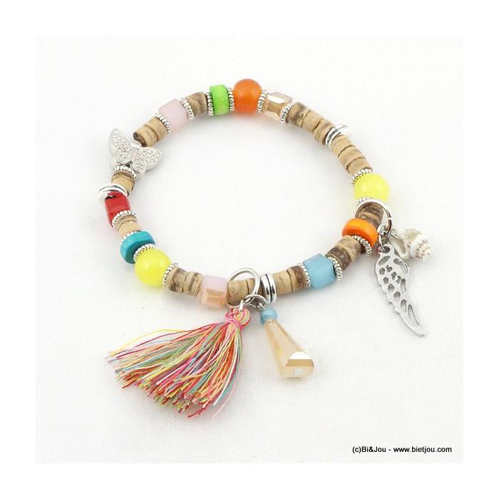 bracelet élastique pompon papillon 0216114