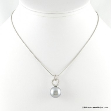 Collier strass et imitation perle