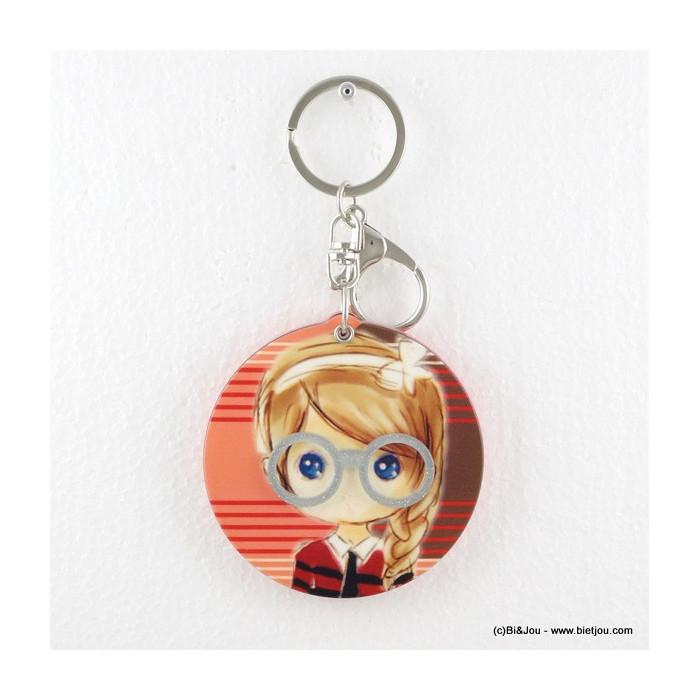 Porte-clés miroir bijou de sac Petite fille blonde à tresse