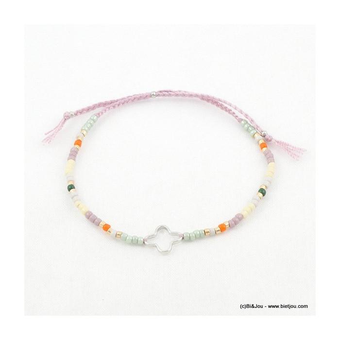 Bracelet réglable noeud coulissant, perles et trèfle