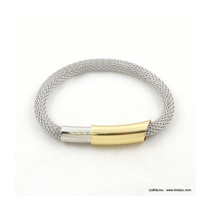 Bracelet en résille métallique et fermoir bijou aimanté