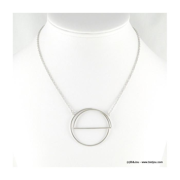 Collier en métal pendentif cercle et demi-cercle superposé