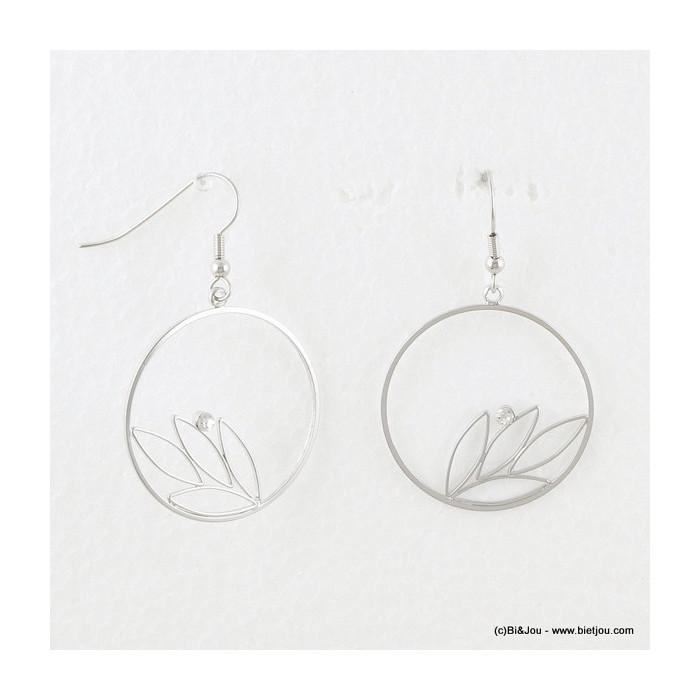 Boucles d'oreilles en métal style créoles avec feuilles et strass