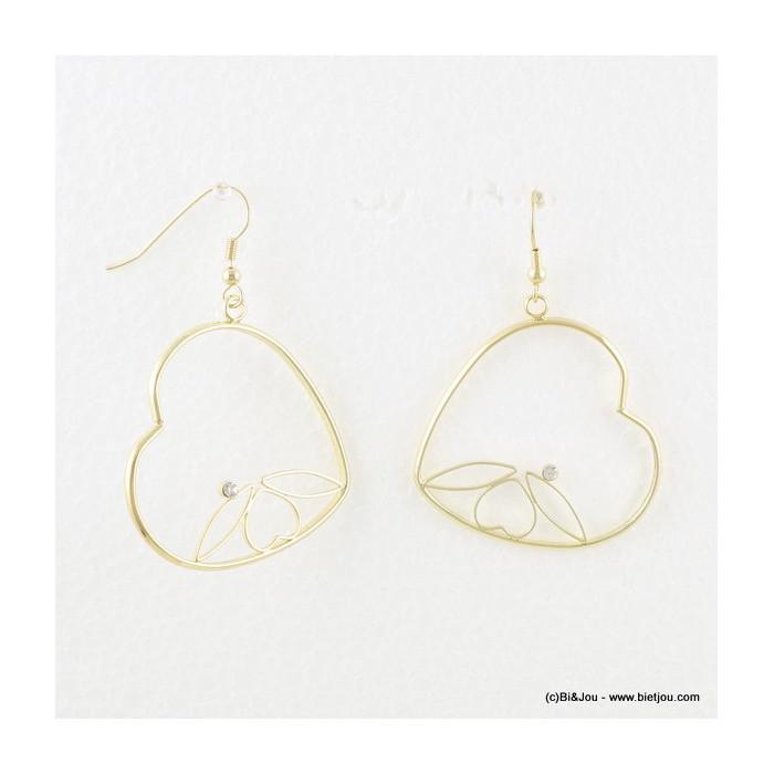 Boucles d'oreilles en métal style créoles en coeur avec strass