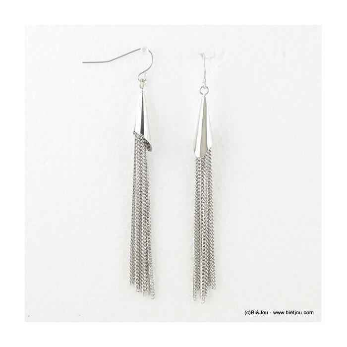Boucles d'oreilles pendantes en métal style tassel