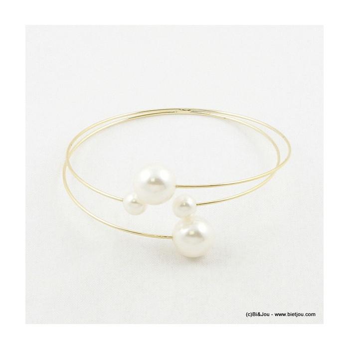 Bracelet semi rigide avec imitations perles blanc nacré