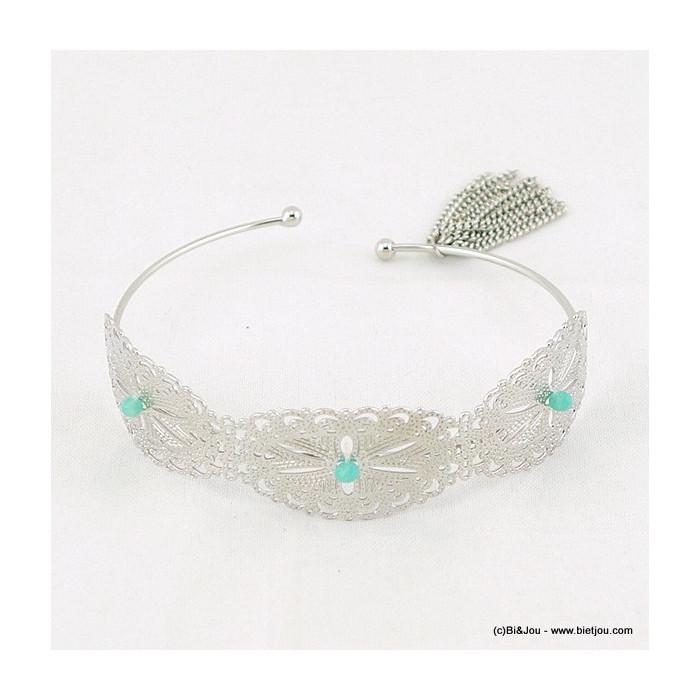Bracelet jonc ouvert en métal motif filigrane, perle cristal et pampille