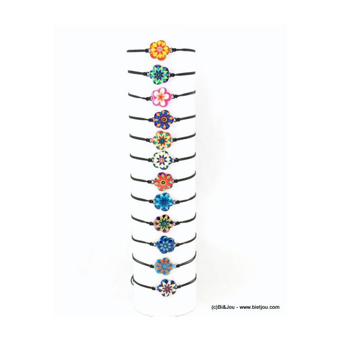 Lot de 12 bracelets fins nœud coulissant macramé et fleur en émail