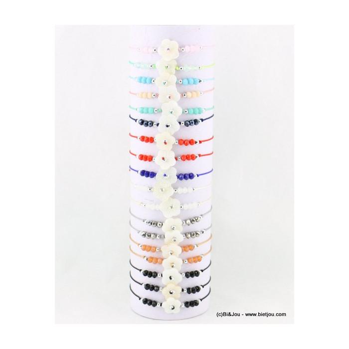 Lot de 18 bracelets fins noeud coulissant macramé, perles cristal et fleur en nacre