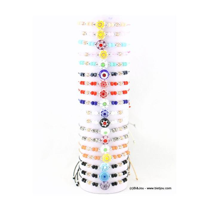 Lot de 18 bracelets fins noeud coulissant macramé et perles en verre motif fleur
