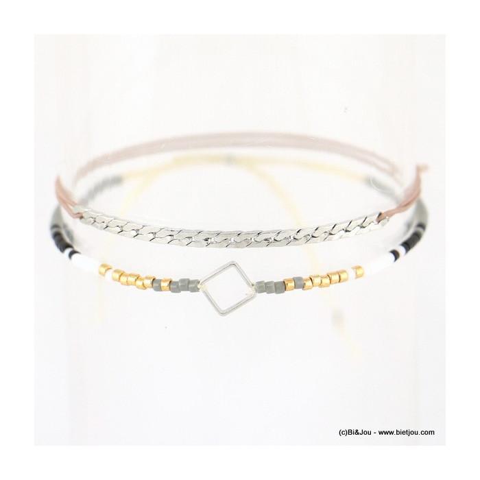 Lot de deux bracelets fins casual chic losange