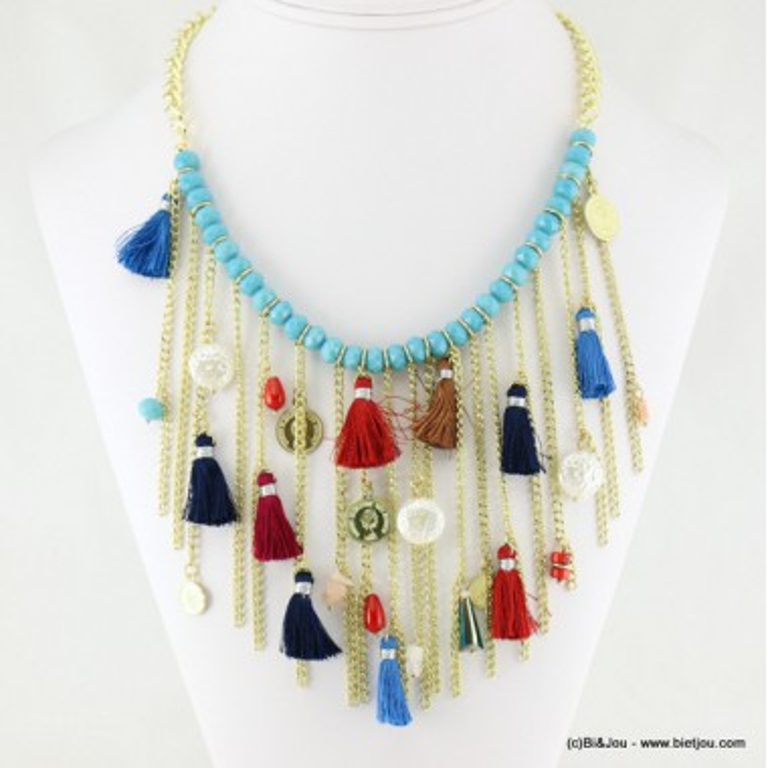 Plastron chaînes en métal, perles cristal et pompons