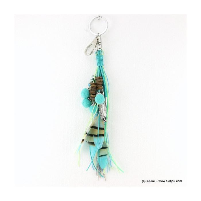 Porte-clés et bijoux de sac multi-liens avec plumes et boules