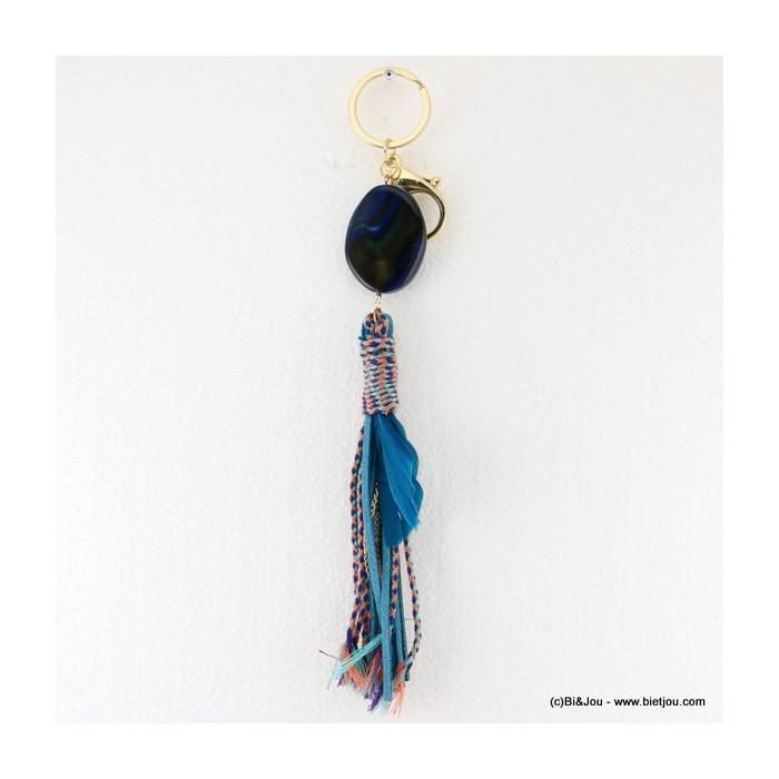Porte-clés et bijou de sac pierre naturelle et plumes