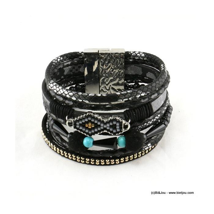 bracelet motif aztèque manchette aimanté simili-cuir 0216504