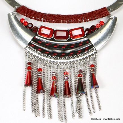 plastron frange 0116539 rouge bordeaux