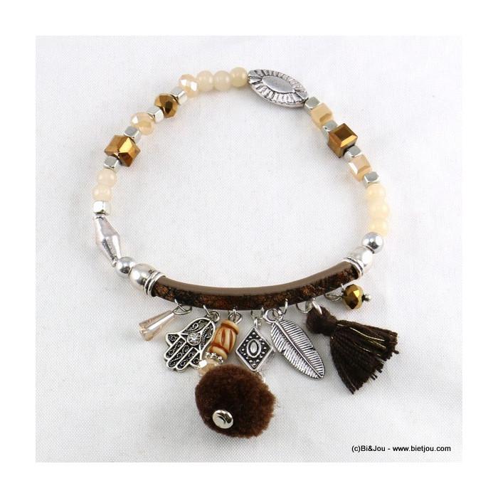 bracelet pompon rond plume main de fatma 0216509