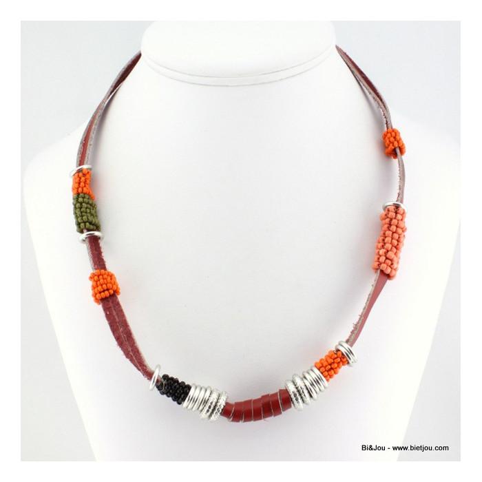 Collier aztèque cuir perles et anneaux
