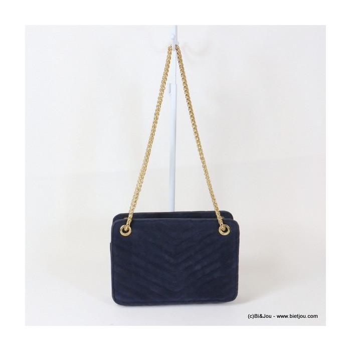 sac à bandoulière chaîne métal femme en simili-cuir effet velours 0916514