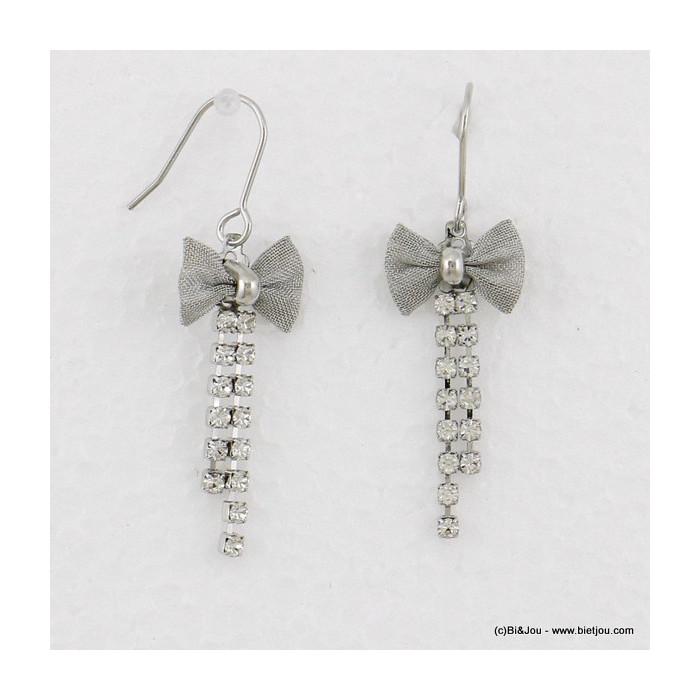boucles d'oreilles noeud papillon pendante hameçon 0316520