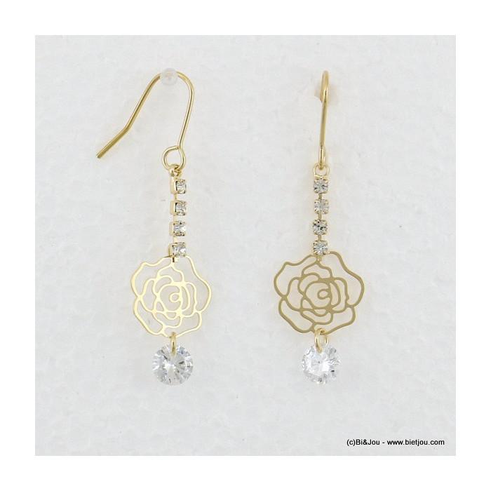 boucles d'oreilles rose filigrane pendante hameçon 0316526