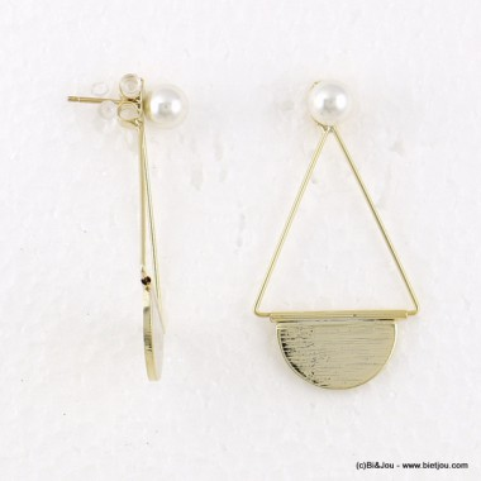 boucles d'oreilles demi lune double face imitation perle fermoir poussette 0316546
