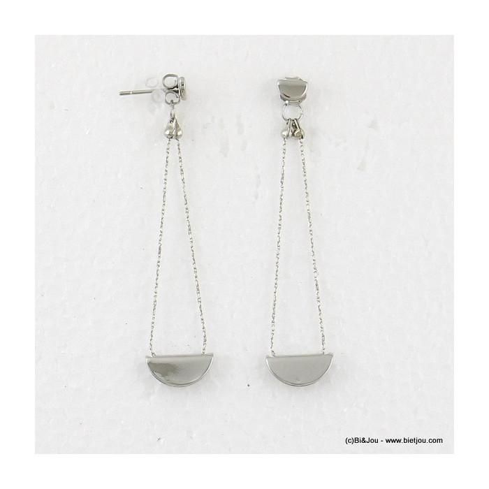 boucles d'oreilles demi-lune pendante double-face fermoir-poussette 0316549