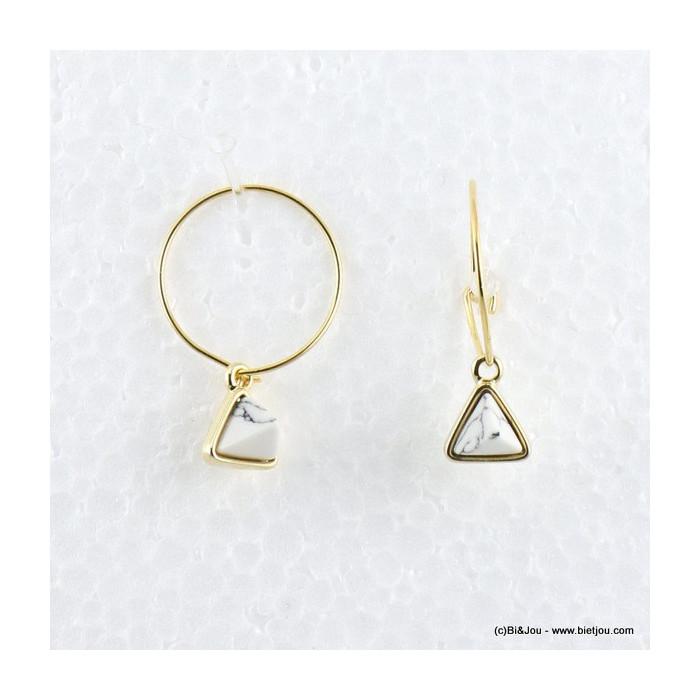 boucles d'oreilles créole triangle effet marbre 0316533