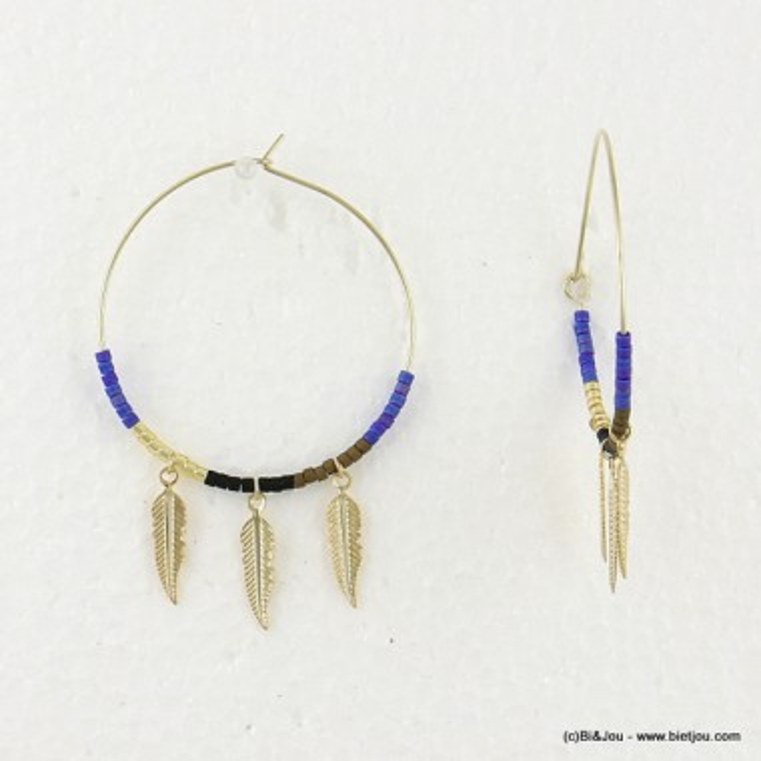 boucles d'oreilles créole plume 0316553