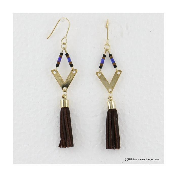 boucles d'oreilles losange pompon pendante hameçon 0316561