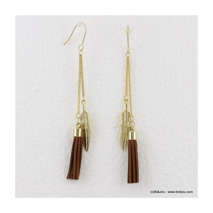 boucles d'oreilles plume pompon pendante hameçon 0316564