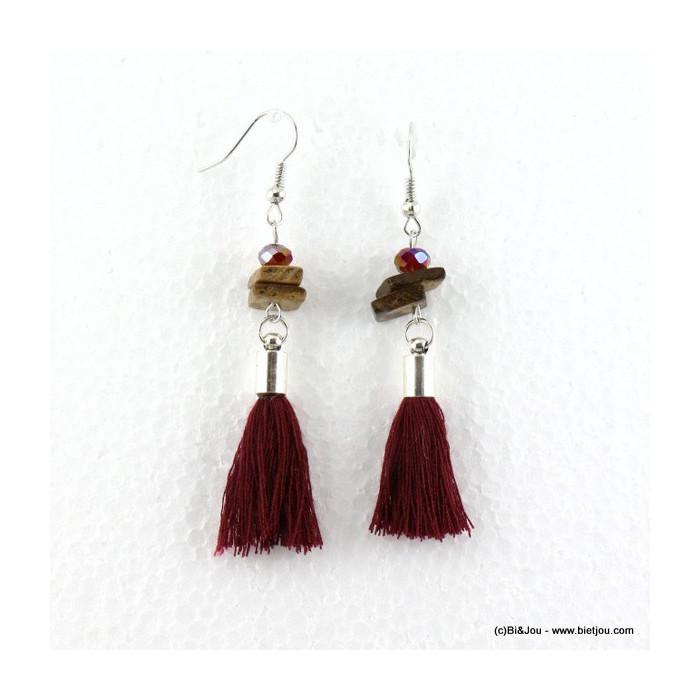 boucles d'oreilles pompon pendante hameçon 0316541
