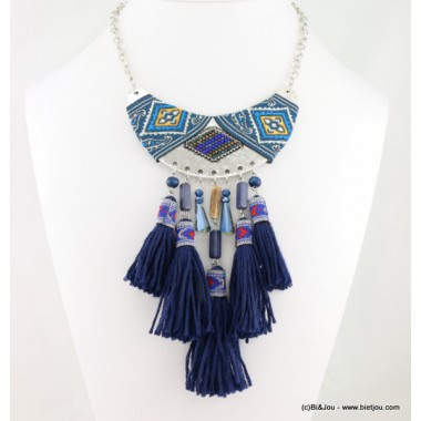 collier tribal pompon motif aztèque 0116585