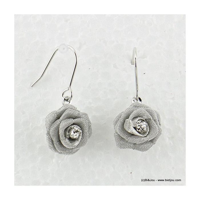 boucles d'oreille fleur rose hameçon 0316569