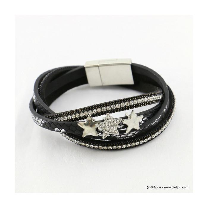 bracelet simili-cuir multi-tours aimanté étoile 0216533