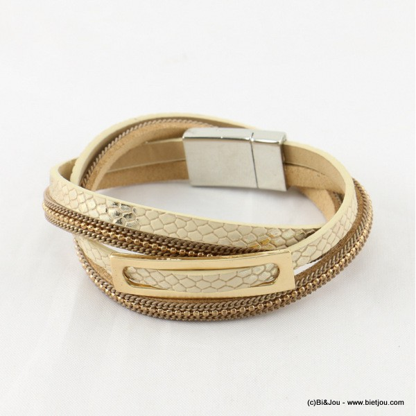 bracelet simili-cuir multi-tours aimanté 0216535
