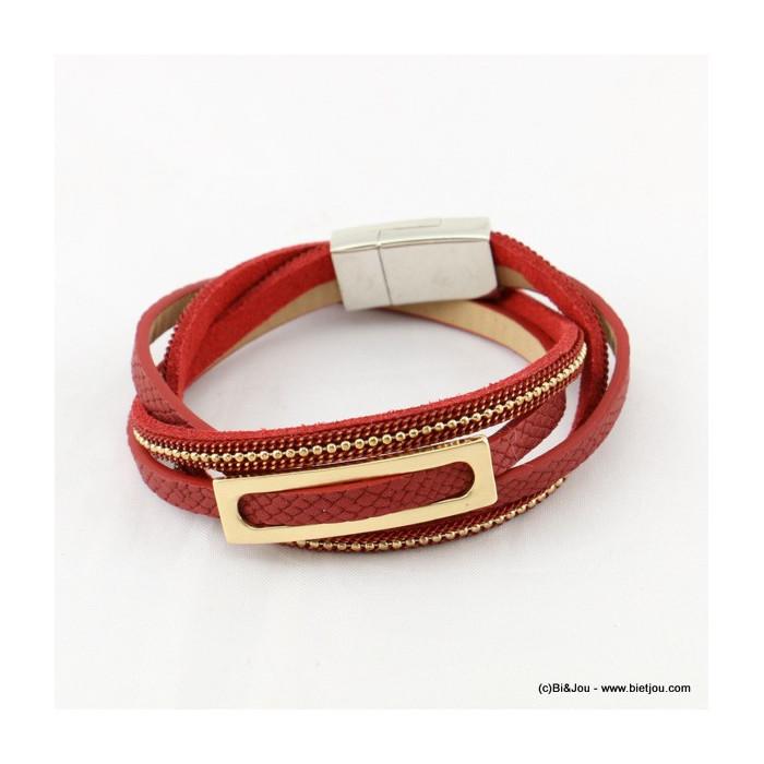 bracelet simili-cuir multi-tours aimanté 0216535