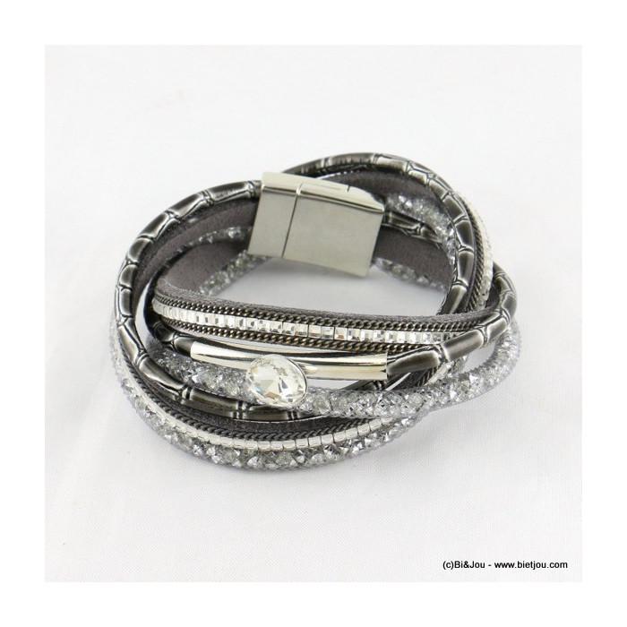 bracelet aimanté multi-tours simili-cuir et tube résille 0216538