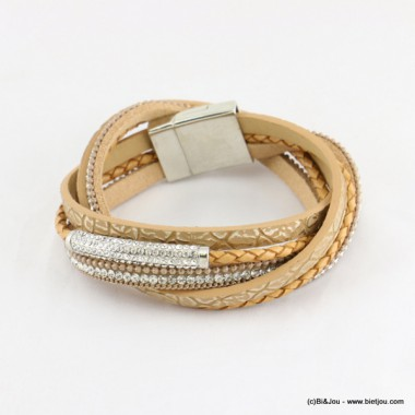bracelet simili-cuir multi-tours aimanté 0216541