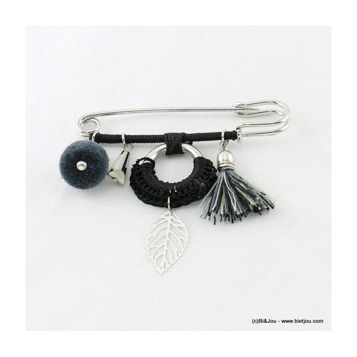 broche épingle à nourrice feuille pompon rond tassel 0516504