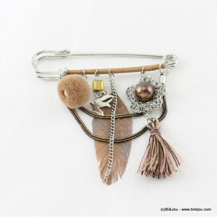 broche épingle à nourrice plume pompon rond tassel 0516505