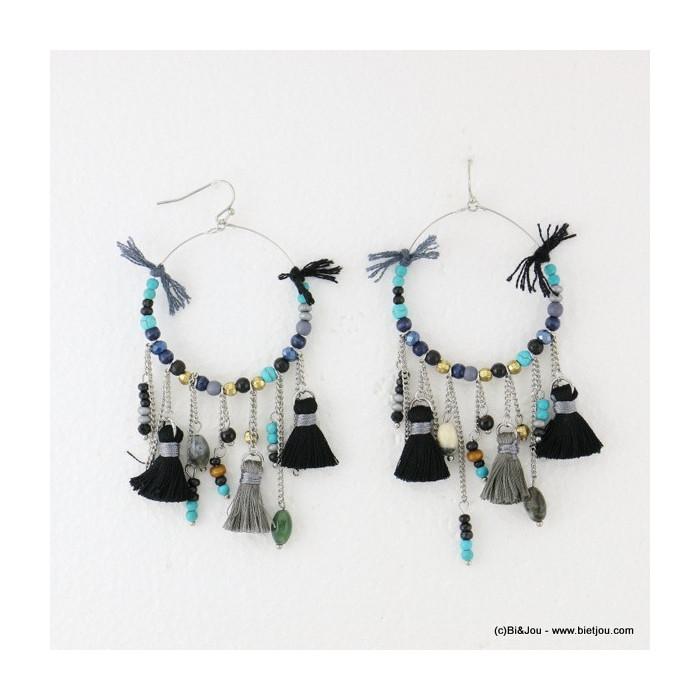 boucles d'oreilles pompon tassel pendante crochet 0316501