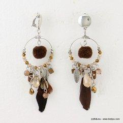 boucles d'oreille 0316502 marron