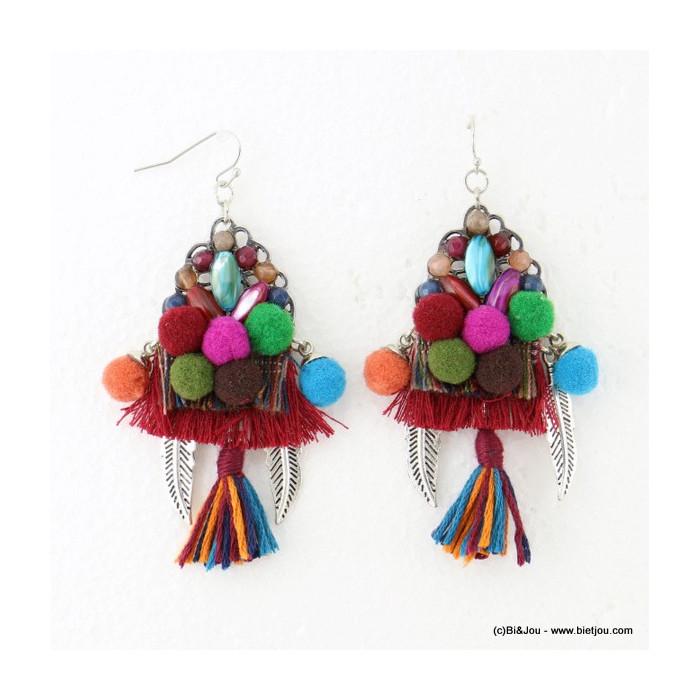 boucles d'oreilles pompon rond tassel pendante crochet 0316610