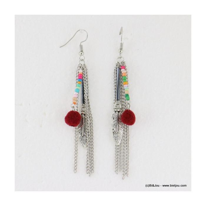 boucles d'oreilles pompon tassel pendante crochet 0316617
