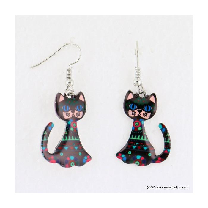 boucles d'oreilles vintage chat pendante crochet 0316635