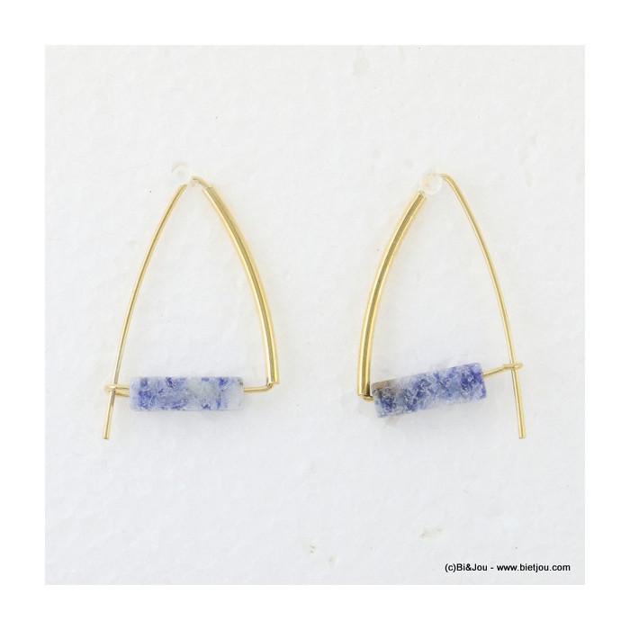 boucles d'oreilles pierre naturelle traversante 0316606